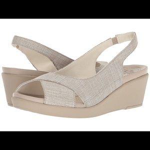 Crocs  slingback wedge, Oyster/cobblestone, nwt, 5
